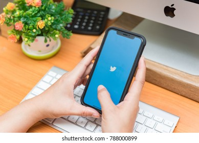 "CHIANGMAI, THAILAND - JAN 07,2018:iphone X open Twitter application,Twitter is an online social networking and microblogging service that enables users to send and read ""tweets"""