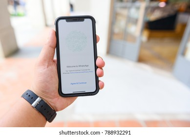 CHIANGMAI, THAILAND - JAN 08,2018 :Brand new Apple iphone X with social Internet service WhatsApp on the screen. iPhoneX was created and developed by the Apple inc.