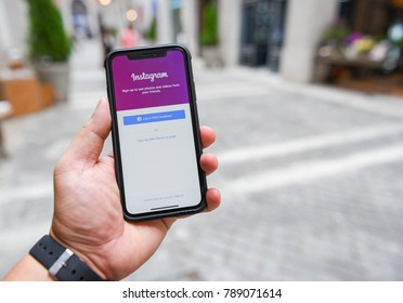 CHIANGMAI, THAILAND - JAN 08,2018 :Brand new Apple iphone X with Instagram application on the screen. Instagram is a photo-sharing app for smartphones.