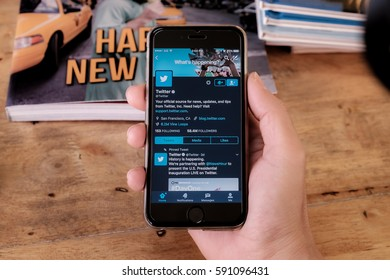 """CHIANGMAI, THAILAND -Jan 16,2017:Iphone 6s open Twitter app.Twitter is an online social networking and microblogging service that enables users to send and read """"tweets""""."""