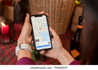 CHIANGMAI, THAILAND - JAN 16,2018 :iphone X with Map app on screen.