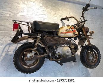 Chiangmai, Thailand - JAN 19, 2019 :Honda Monkey 50CC (1969) minibike in cafe chiangmai