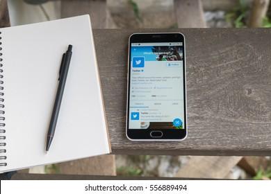 CHIANGMAI, THAILAND -JAN 2,2017:Smartphone open Twitter application,Twitter is an online social networking.