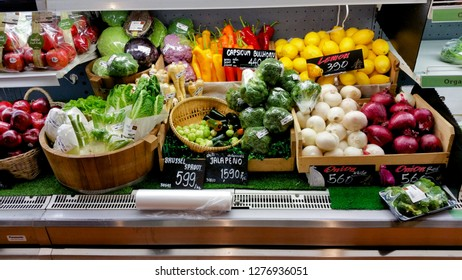 Chiangmai, Thailand - Jan 3, 2019:Fruit and vegetable on freezer in supermaket.