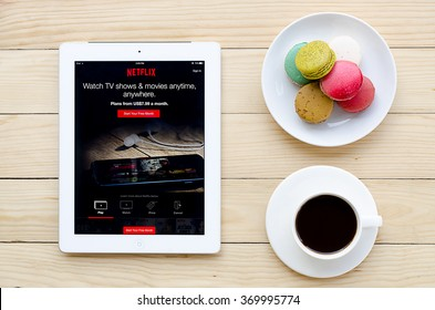 CHIANGMAI, THAILAND -JAN 31,2016:IPad 4 open Netflix application. Netflix is an American provider of on-demand Internet streaming media available founded in 1997 by Marc Randolph and Reed Hastings