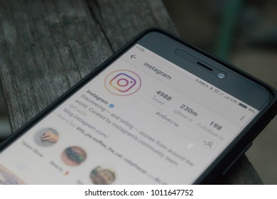 CHIANGMAI, THAILAND -JAN 3,2018:Smart phone open Instagram application, Instagram is most popular photograph social networking