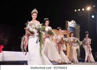 CHIANGMAI, THAILAND - Jan 7, 2017 : Miss Chiangmai 2017 beauty pageant. The contestant walking in the final round and crowning moment at the Chiangmai Winter Festival 2017 centre stage.