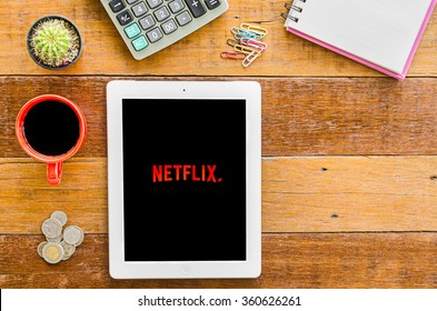 CHIANGMAI, THAILAND -JANUARY 10,2016:IPad 4 open Netflix application. Netflix is an American provider of on-demand Internet streaming media available founded in 1997 by Marc Randolph and Reed Hastings