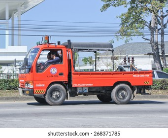 CHIANGMAI, THAILAND -JANUARY 13 2015: Truck of Tranformer Service team of Provincial eletricity Authority of Thailand. Photo at road no.1001 about 8 km from downtown Chiangmai, thailand.