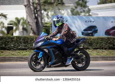 Chiangmai, Thailand - January 14 2019: Private Racing Kawasaki Ninja H2 SX SE Motorcycle. Photo at road no.121 about 8 km from downtown Chiangmai, thailand.