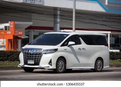 Chiangmai, Thailand - January 14 2019: Private Toyota Alphard luxury  Van. Photo at road no 121 about 8 km from downtown Chiangmai thailand.