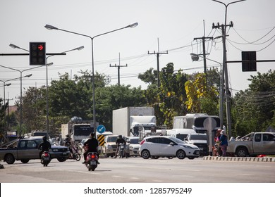 Chiangmai, Thailand - January 16 2019:  Car and Traffic on highway road near Juction. Photo at road no 121 about 8 km from downtown Chiangmai thailand.