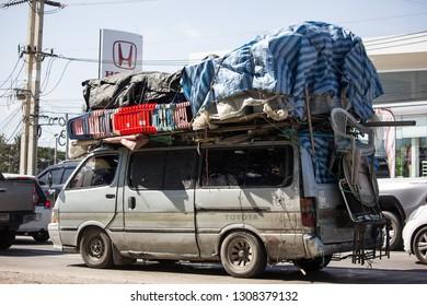 Chiangmai, Thailand - January 16 2019:  Over Load on Toyota Hiace old Van Car. On road no.1001, 8 km from Chiangmai city.