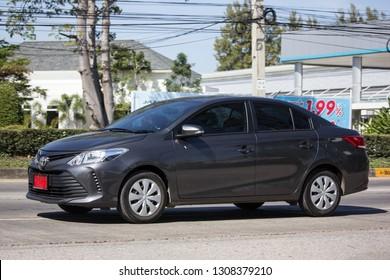 Chiangmai, Thailand - January 16 2019:  Private Sedan car Toyota Vios. On road no.1001 8 km from Chiangmai Business Area.