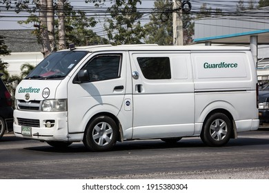 Chiangmai, Thailand - January 19 2021:  Money delivery Pickup of Guardforce Company.  On road no.1001, 8 km from Chiangmai city.