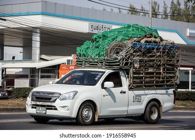 Chiangmai, Thailand - January 19 2021:  Private Isuzu Dmax Pickup Truck. On road no.1001 8 km from Chiangmai city.