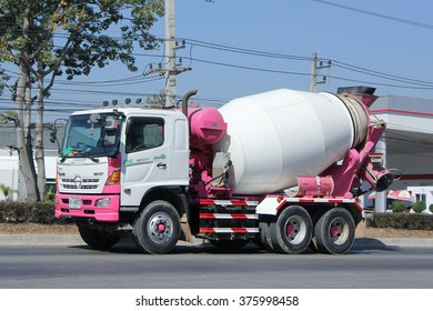 CHIANGMAI, THAILAND -JANUARY 21 2016:   Cement truck of Thanachai company. Photo at road no 121 about 8 km from downtown Chiangmai, thailand.