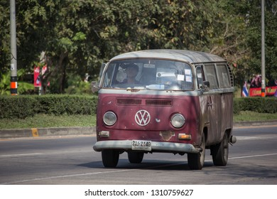 Chiangmai, Thailand - January 22 2019: Vintage volkswagen van. Photo at road no.121 about 8 km from downtown Chiangmai, thailand.