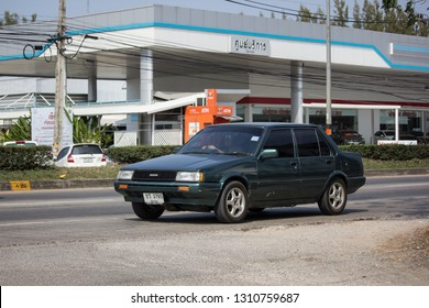 Chiangmai, Thailand - January 22 2019: Private Old car, Toyota Corolla. Photo at road no 121 about 8 km from downtown Chiangmai, thailand.