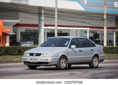 Chiangmai, Thailand - January 22 2019: Private Car, Volkswagen Passat. On road no.1001, 8 km from Chiangmai city.