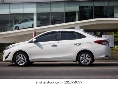 Chiangmai, Thailand - January 22 2019: New Private Sedan car toyota Yaris ATIV Eco Car.  Photo at road no 121 about 8 km from downtown Chiangmai thailand.