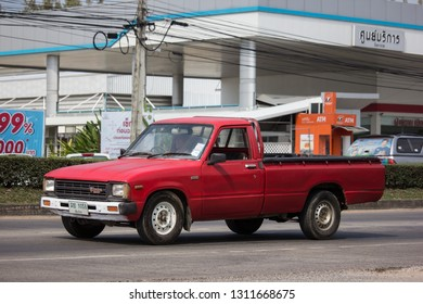 Chiangmai, Thailand - January 22 2019: Private old Pickup car, Toyota Hilux Mighty X. On road no.1001, 8 km from Chiangmai city.