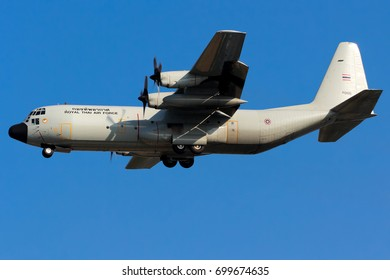 Chiangmai, Thailand. January 25, 2014. Royal Thai Air Force Lockheed C-130H Hercules Reg. 60105 on Short Final for Landing at Chiangmai International Airport with Blue Sky.