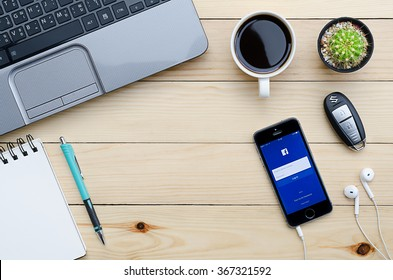 CHIANGMAI, THAILAND -JANUARY 25,2016:Facebook is an online social networking service founded in February 2004 by Mark Zuckerberg with his college roommates and is now a fortune 500 company.