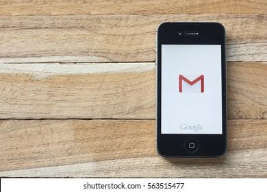 CHIANGMAI, Thailand - January 25,2017: Smart phone displaying Gmail application.