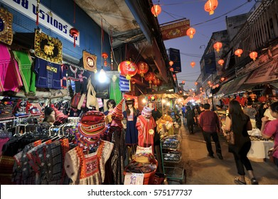 CHIANGMAI THAILAND - JANUARY 29, 2017 : Chinese New Year in Thailand, Unidentified many tourists come to walk in the Chinese new year festival at Warort market.