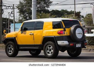 Chiangmai, Thailand - January 3 2019: Private car, Toyota FJ cruiser.  On road no.1001, 8 km from Chiangmai city.