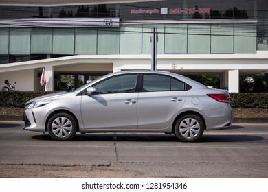 Chiangmai, Thailand - January 3 2019: Private Sedan car Toyota Vios. On road no.1001 8 km from Chiangmai Business Area.