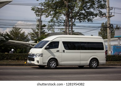 Chiangmai, Thailand - January 3 2019:  Private Toyota commuter van. Photo at road no.121 about 8 km from downtown Chiangmai thailand.