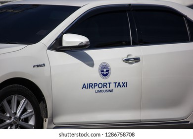 Chiangmai, Thailand - January 4 2019:  Chiangmai Airport Taxi, Service for Passenger from Airport. On road no.1001, 8 km from Chiangmai city.