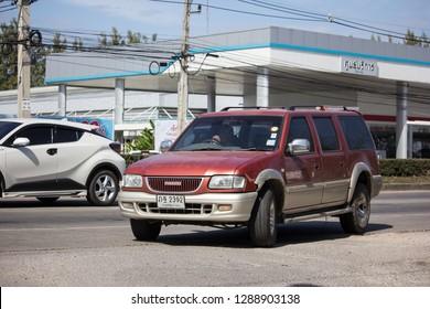 Chiangmai, Thailand - January 4 2019: Private Isuzu Pickup Truck. On road no.1001 8 km from Chiangmai city.