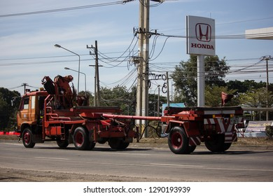 Chiangmai, Thailand - January 4 2019: Truck of Provincial eletricity Authority of Thailand. Photo at road no.1001 about 8 km from downtown Chiangmai, Thailand.