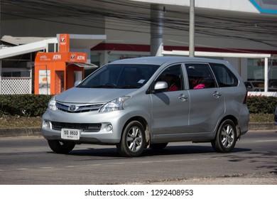 Chiangmai, Thailand - January 4 2019:  Private Toyota Avanza car. Mini Suv Car for Urbun User. Photo at road no.121 about 8 km from downtown Chiangmai thailand.