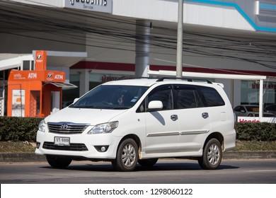 Chiangmai, Thailand - January 4 2019: Private MPV Car, Toyota Innova.  On road no.1001, 8 km from Chiangmai Business Area.