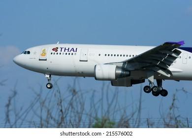 CHIANGMAI , THAILAND - JANUARY 7 2009: HS-TAM Airbus A300-600 of Thaiairway. Landing to Chiangmai airport from Bangkok Suvarnabhumi.