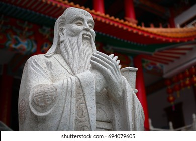 Chiangmai, Thailand -january 7,2017 : Selective Focus of  Confucius statue in Chinese Temple in Chiangmai, Thailand.
