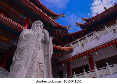 Chiangmai, Thailand -january 7,2018 : Selective Focus of Confucius statue in Chinese Temple in Chiangmai, Thailand.
