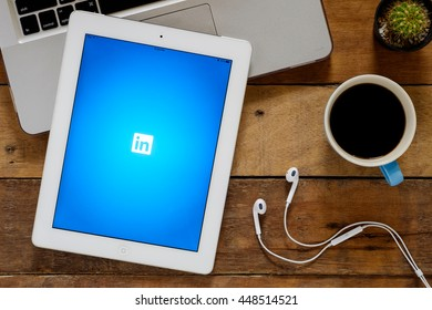 CHIANGMAI, THAILAND -July 04,2016: Linkedin apps showing on Ipad 4.Linkedin is a social networking website for people in professional occupations.