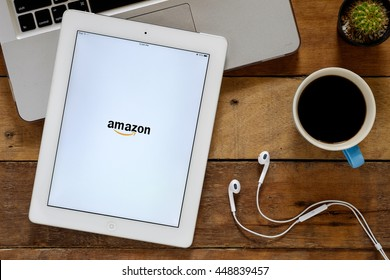 CHIANGMAI, THAILAND -July 05,2016:IPad 4 open Amazon app.Amazon.com, Inc. is an American international electronic commerce company. It is the world's largest online retailer.