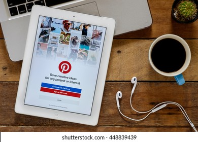 CHIANGMAI, THAILAND -July 05,2016:Pinterest is a pinboard-style photo-sharing website that allows users to create and manage theme-based image collections like events, interests, and hobbies