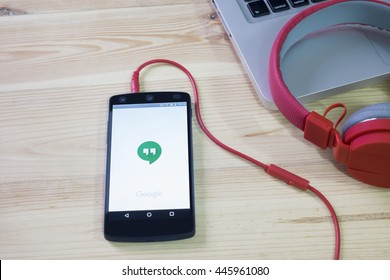 CHIANGMAI, THAILAND -JULY 1, 2016:Google Hangouts application on LG Nexus 5. Hangouts allows to make voice calls and send sms, mms messages.