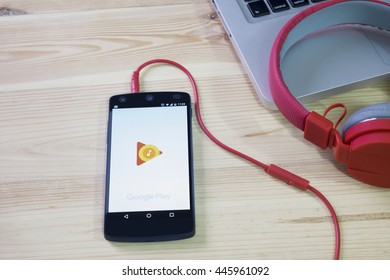 CHIANGMAI, THAILAND -JULY 1, 2016:LG Nexus5 opened to Google Play application. Google play music is the most interesting and a user friendly app to listen to music.