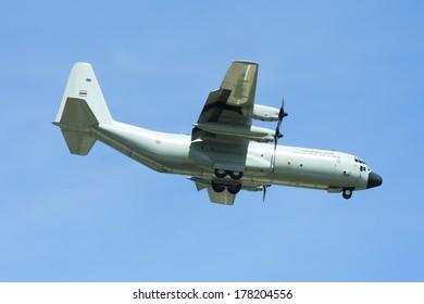 CHIANGMAI ,  THAILAND -JULY  10  2009: 60111 C-130 of Royal Thai Air force.  Landing to Chiangmai  Airport.