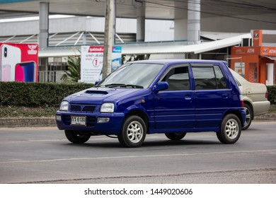Chiangmai, Thailand - July 11 2019: Private Small city car, Daihatsu Mira. Photo at road no 121 about 8 km from downtown Chiangmai, thailand.