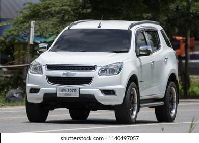 Chiangmai, Thailand - July  13 2018: Private SUV car, Chevrolet Trailblazer. On road no.1001, 8 km from Chiangmai city.