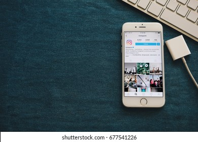 Chiangmai, Thailand - July 15, 2017: Apple iPhone6 with Instagram application on the screen. Instagram is photo - sharing app for smartphone. Top view